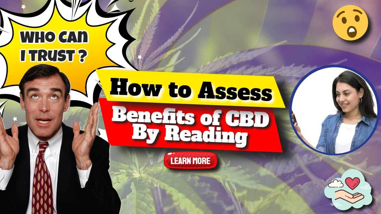 """Image text: """"How to assess benefits of CBD by reading""""."""